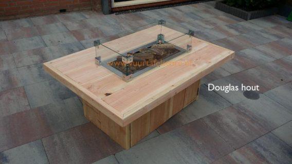 Douglas-houten-vuurtafel