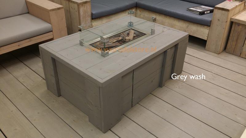 Industriële tafel stalen d kruispoot grey wash marktplaza